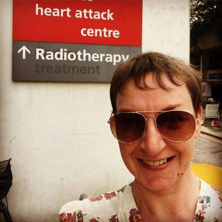 Alison Carter outside the Radiotherapy department