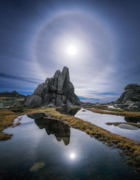 Moon halo over North Rams Head in Kosciuszko National Park, New South Wales, 21 May 2016