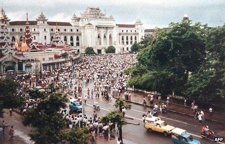 Protest in Rangoon, June 1988