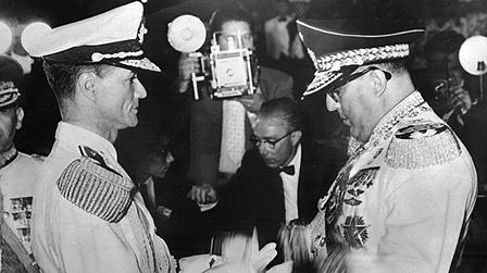 Marcos Perez Jimenez, right, who was ousted by Admiral Wolfgang Larrazabal