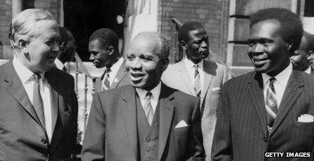 Former leader Hastings Banda is pictured with British Prime Minister Harold Wilson (l) and Ugandan Prime Minister Milton Obote (r)