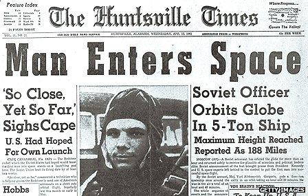 Newspaper reporting of Gagarin's space voyage