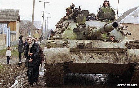 Russian tank in a Chechen village