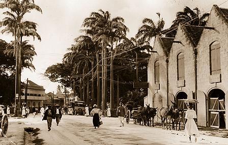 Bridgetown street scene in 1910