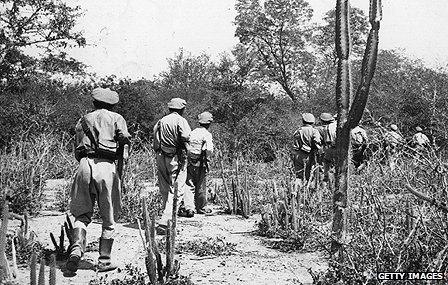 Bolivian troops on patrol during the Chaco conflict