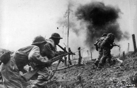 North Vietnamese troops fighting South Vietnamese troops on Laotian territory as the conflict spilled over in the 1960s