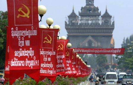 Banners marking the eighth national congress of the Lao People's Revolutionary Party adorn Vientiane's main boulevard