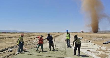 Workers build the new Ethiopia-Djibouti railway line