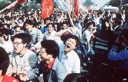 Student demonstrations in China's Tiananmen Square, 1989