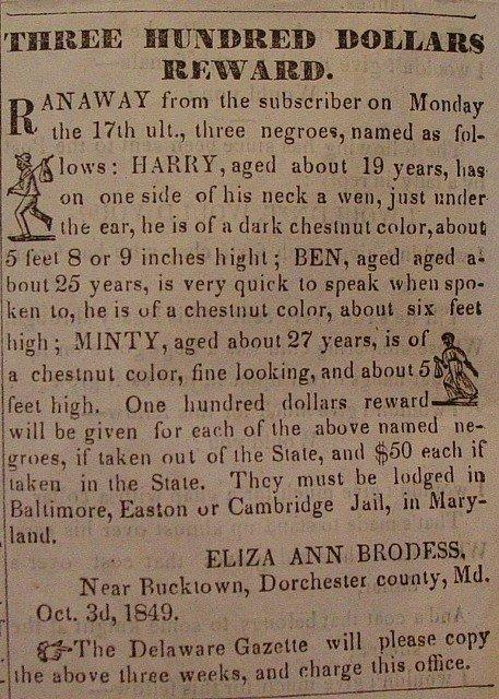A newspaper notice offering a reward for the return of Tubman and her brothers