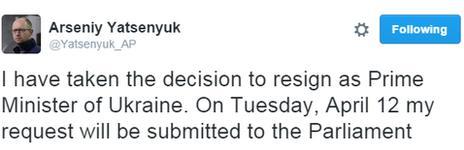 Resignation tweet by Arseniy Yatsenyuk