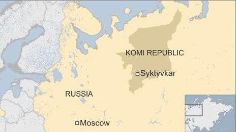 Russia map - Komi