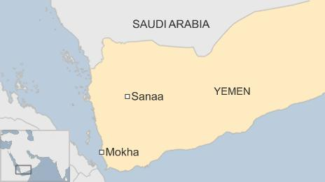 Map showing the location of the port city of Mokha, Yemen