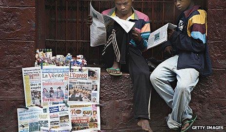 Newspaper stand in Madagascar