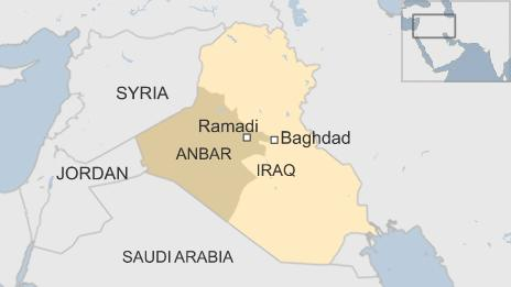 Map of Iraq showing locations of Ramadi and Anbar