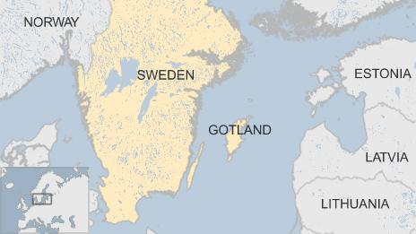 Map showing Sweden and Gotland