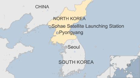 Map of North Korea showing location of Sohae Satellite Launching Station