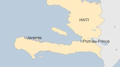 Map showing the south-western town of Jeremie in Haiti