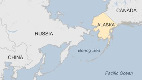 Map of region showing Alaska, Russia and China - 3 September 2015