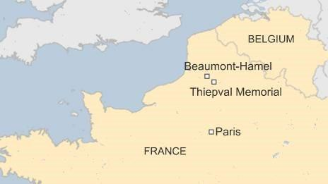 Map of France showing Beaumont-Hamel and Thiepval war memorials