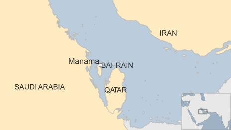 Map of Bahrain and Iran