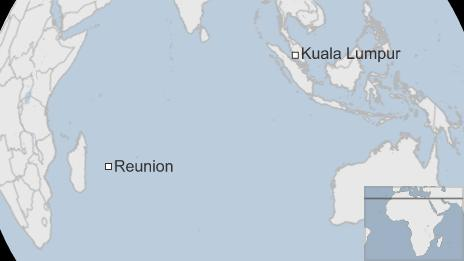 A map showing Reunion in the Indian Ocean and Kuala Lumpur