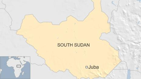 A map showing Juba in the country of South Sudan