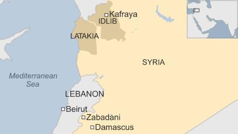 Map of Syria showing locations of Zabadani and Kafraya