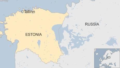 Map of Estonia border with Russia