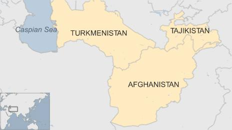 A map showing Turkmenistan, Afghanistan, and Tajikistan in relation to the Caspian sea