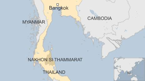 Map showing the location of Nakhon Si Thammarat province, Thailand