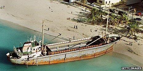 Ship stranded by Hurricane Floyd in 1999