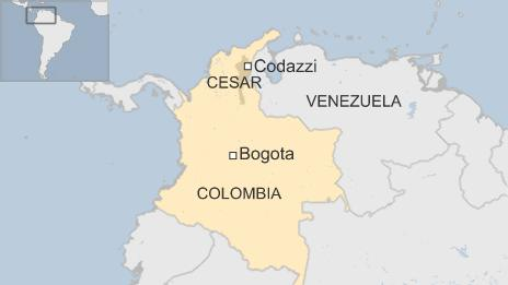 Map showing location of Codazzi in Colombia