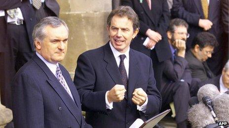 Irish Prime Minister Bertie Ahern British Prime Minister Tony Blair to the right Hillsborough Castle in Belfast during talks on Northern Ireland in 1999