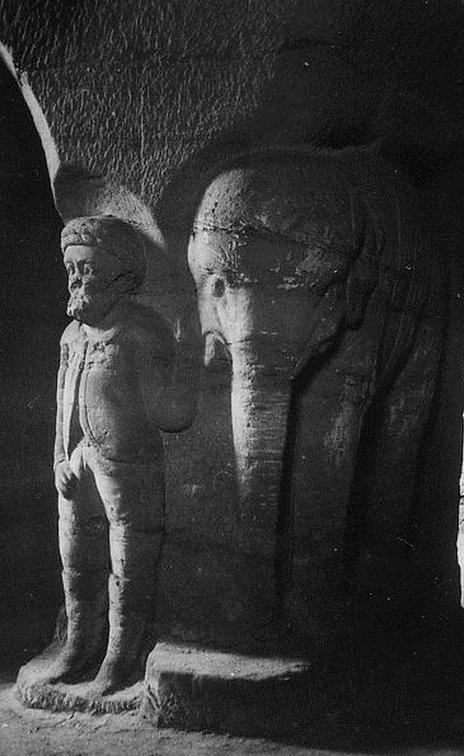 Doncaster Sand House carving -elephant with mahout