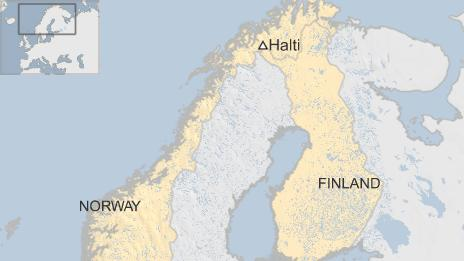 Map showing Norway, Finland and Mount Halti