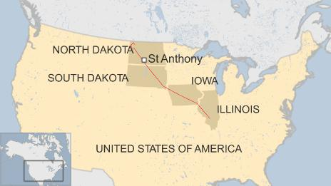 Map showing pipeline running through North Dakota, South Dakota, Iowa and Illinois, also showing the town of St Anthony, where protest took place
