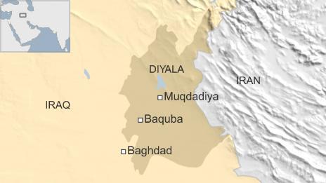 Map of Iraq showing location of Muqdadiya