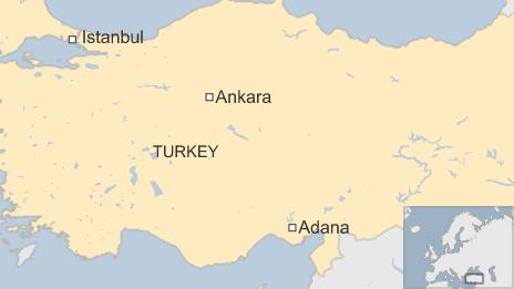 Map of Turkey showing Adana