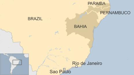 Map showing location of states of Bahia, Paraiba and Pernambuco in Brazil
