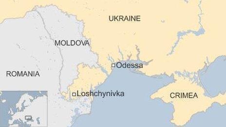 Ukraine map showing Loshchynivka