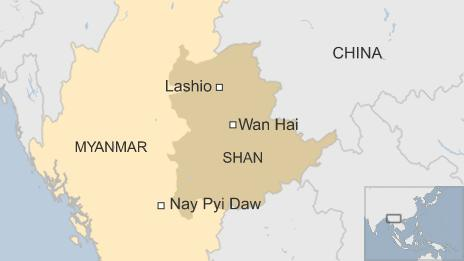 Map of Myanmar, showing Lashio and Wan Hai in Shan province and Nay Pyi Daw just outside