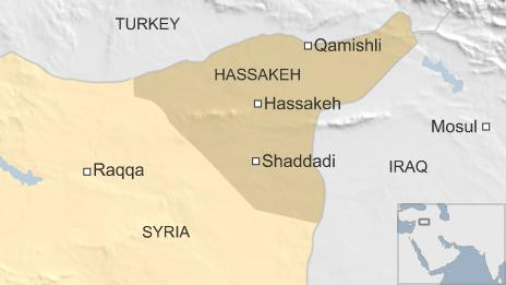 Map of Syria showing location Shaddadi
