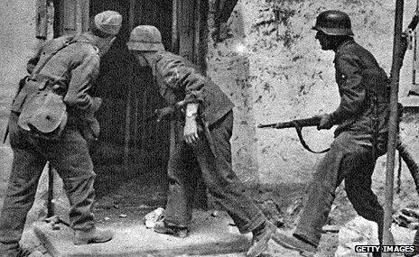German troops storming a house