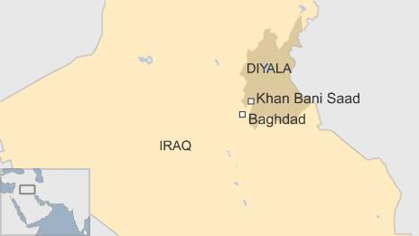 A map showing Khan Bani Saad, where a car bombing killed at least