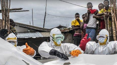 Body bags containing Ebola victims