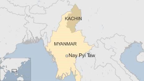 Map showing Kachin state in Myanmar
