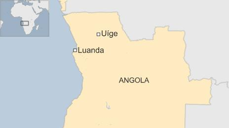 Map showing the city of Uige, Angola