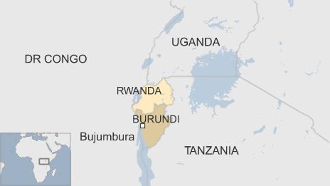 Map showing location of Burundi