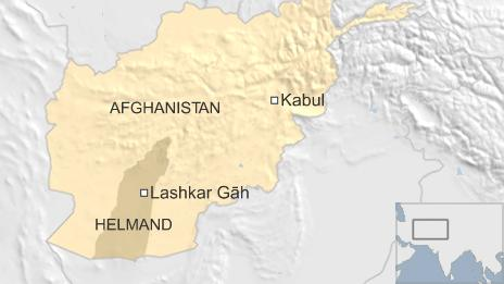 A map of Afghanistan showing Lashkar Gah in Helmund Province, in relation to the capital, Kabul